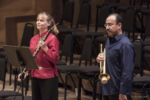 Soloists Marni Houghman & Manny Laureano following their performance of Copland's Quiet City