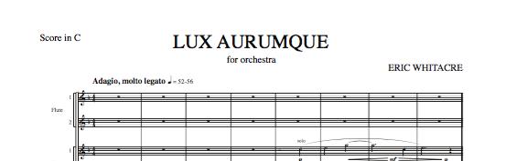 Lux Aurumque for orchestra